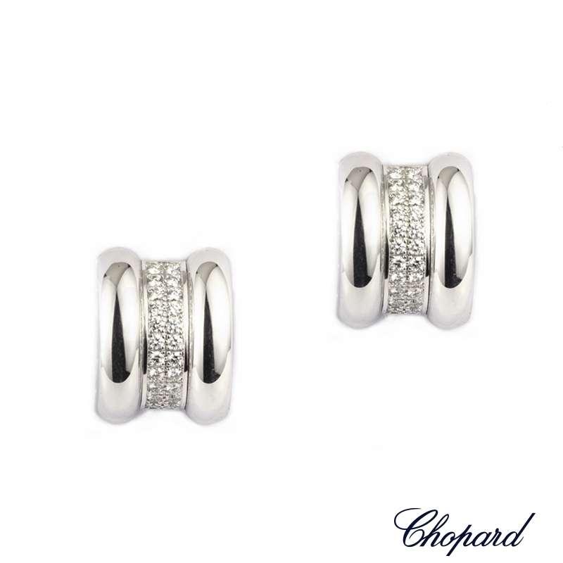 Chopard 18K White Gold Diamond La Strada Earrings 84/6435-41